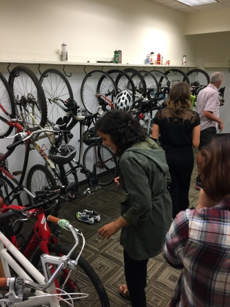 the office bike room - so cool!